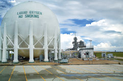 Launch Pad 39-A Liquid Oxygen Storage Tank. Storage tank for liquid oxygen fuel located just to the Northeast of Kennedy Space Center's former shuttle launch pad royalty free stock images