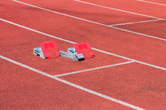Launch Pad. Starting blocks track and field Royalty Free Stock Photography