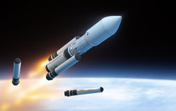 Launch. Parts of rocket in the space Stock Photo