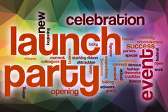 Launch party word cloud with abstract background Stock Image
