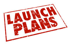 Launch Plans Red Stamp Information Advice Steps Begin New Busine Royalty Free Stock Images