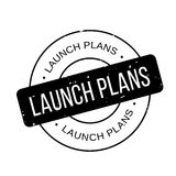 Launch Plans rubber stamp. Grunge design with dust scratches. Effects can be easily removed for a clean, crisp look. Color is easily changed royalty free illustration