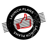 Launch Plans rubber stamp. Grunge design with dust scratches. Effects can be easily removed for a clean, crisp look. Color is easily changed stock illustration