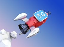 Launch polygonal rocket with monitor in blue sky. 5G concept. 3D rendering image Royalty Free Stock Photos