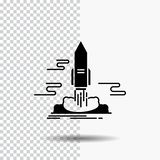 Launch, Publish, App, shuttle, space Glyph Icon on Transparent Background. Black Icon. Vector EPS10 Abstract Template background vector illustration