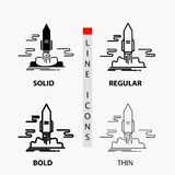 Launch, Publish, App, shuttle, space Icon in Thin, Regular, Bold Line and Glyph Style. Vector illustration. Vector EPS10 Abstract Template background royalty free illustration