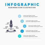 Launch, Publish, App, shuttle, space Infographics Template for Website and Presentation. GLyph Gray icon with Blue infographic. Style vector illustration vector illustration
