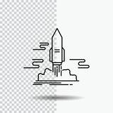 Launch, Publish, App, shuttle, space Line Icon on Transparent Background. Black Icon Vector Illustration. Vector EPS10 Abstract Template background stock illustration