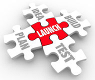 Launch Puzzle Pieces Idea Build Plan Test Starting New Business Royalty Free Stock Photos