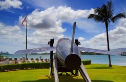 Launch Ready. Navy Jet displayed at Pearl Harbor Royalty Free Stock Photo