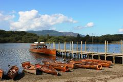 Launch and rowing boats, Derwentwater, Keswick Royalty Free Stock Images