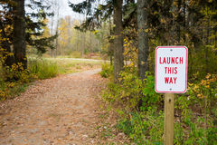 Launch Sign Next to Winding Path Royalty Free Stock Photo