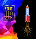 Launch of a space rocket in the drawing style. Royalty Free Stock Photo