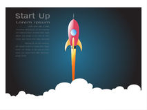 Launch space rocket flying on white background, Paper art style for start up business concept. Royalty Free Stock Images