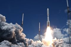 The launch of a space rocket. With smoke and fire. Elements of this image were furnished by NASA