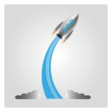 The launch of the spacecraft. Space ship vector symbol icon or logo,For the design of children's literature Stock Image