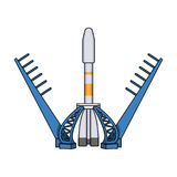 Launch of the spaceship. Space technology single icon in cartoon style vector symbol stock illustration web. Stock Photo