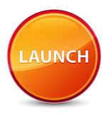 Launch special glassy orange round button stock photo