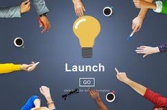 Launch Start Brand Introduce Light Bulb Concept Stock Photo
