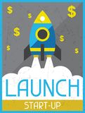 Launch Start-up. Retro poster in flat design style Royalty Free Stock Photos