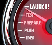 Launch Test Prepare Plan Idea Speedometer Start New Business Stock Image