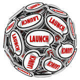 Launch Word Speech Bubbles Spreading Buzz New Business Company Stock Images