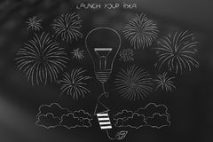 Rocket with light bulb and fireworks all around it. Launch your idea conceptual illustration: rocket with light bulb and fireworks all around it Stock Photos
