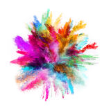 Launched colorful powder on black background. Launched colorful powder, isolated on black background stock photo