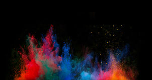 Launched colorful powder. Royalty Free Stock Photo
