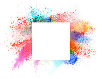 Launched colorful powder over white. Launched colorful powder, isolated on white background stock image