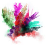 Launched colorful powder over white Stock Images