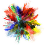 Launched colorful powder on white background Royalty Free Stock Images