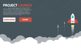 Rocket to the space clouds stock illustration