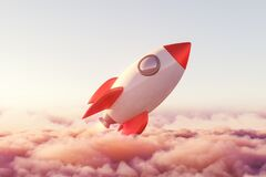 Free Launched Rocket Is Rising Above Pink Pastel Clouds Stock Photo - 215169790