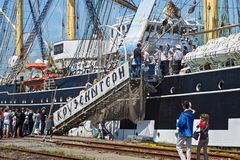 KALININGRAD, RUSSIA - JUNE 19, 2016: Stairs to the historical barque Kruzenshtern moored in the pier of Kaliningrad Sea Port. Launched in 1926, she was Stock Image