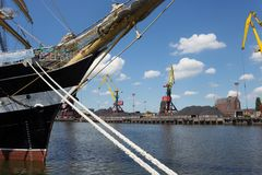 KALININGRAD, RUSSIA - JUNE 19, 2016: The view of the historical barque Kruzenshtern in the pier of Kaliningrad Sea Port. Launched in 1926, she was surrendered Stock Photo