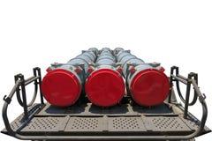 Launcher av det självgående systemet Buk M2 med fyra missiler som isoleras på den vita bakgrunden arkivfoto