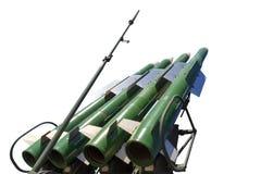 Launcher av det självgående systemet Buk M2 med fyra missiler som isoleras på den vita bakgrunden royaltyfria foton