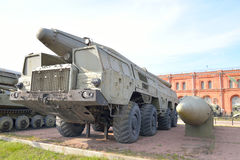 Launcher 9P120 with a rocket 9M76 of missile complex 9K76 Temp-S in Military Artillery Museum. Royalty Free Stock Photos
