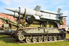 Launcher 2P24 with two rockets 3M8 of missile complex 9K11 Krug in Military Artillery Museum. Royalty Free Stock Images