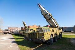 Launcher with rocket missile complex. TOGLIATTI, RUSSIA - MAY 2, 2013: Launcher with rocket missile complex Elbrus (Scud B) in Togliatti Technical museum. Scud Royalty Free Stock Image