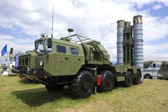 The launcher of the Russian antiaircraft missile system S-400 `Triumph` on the MAKS-2017 air show. ZHUKOVSKY, RUSSIA - JULY 20, 2017: The launcher of the Russian Stock Images