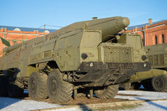 Launcher Soviet missile complex `Temp-s` 9K76 sunny winter day. Saint Petersburg Royalty Free Stock Image