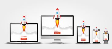 Launching app project on all devices concept. Rocket fly out of monitor, laptop, tablet pc, smart phone and watch. Start up, busin. Ess idea, isolated on white Royalty Free Stock Photo