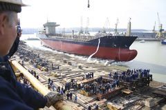Launching ceremony of a ship stock photo