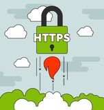 Launching HTTPS secure website concepts with Royalty Free Stock Photography