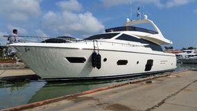 Launching 72 feets motor yacht Stock Photography