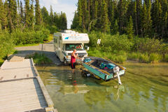 Launching a fishing boat in the yukon territories Stock Image