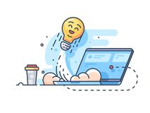 Launching idea of startup from laptop. Business start, vector illustration Royalty Free Stock Photos