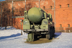 Launching module of the strategic missile system RT-2PM `Topol` near the building of the Museum of Artillery and Communications Stock Photography